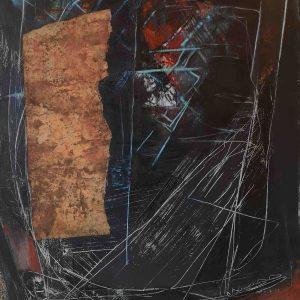 Abstrakt, Mixed Media, Collage, Acrylbild, Schwarz