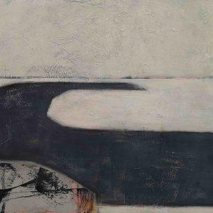 Abstrakt, Collage, Acrylbild, Winter, Landebahn, Fliegen, Turbine, Weiß