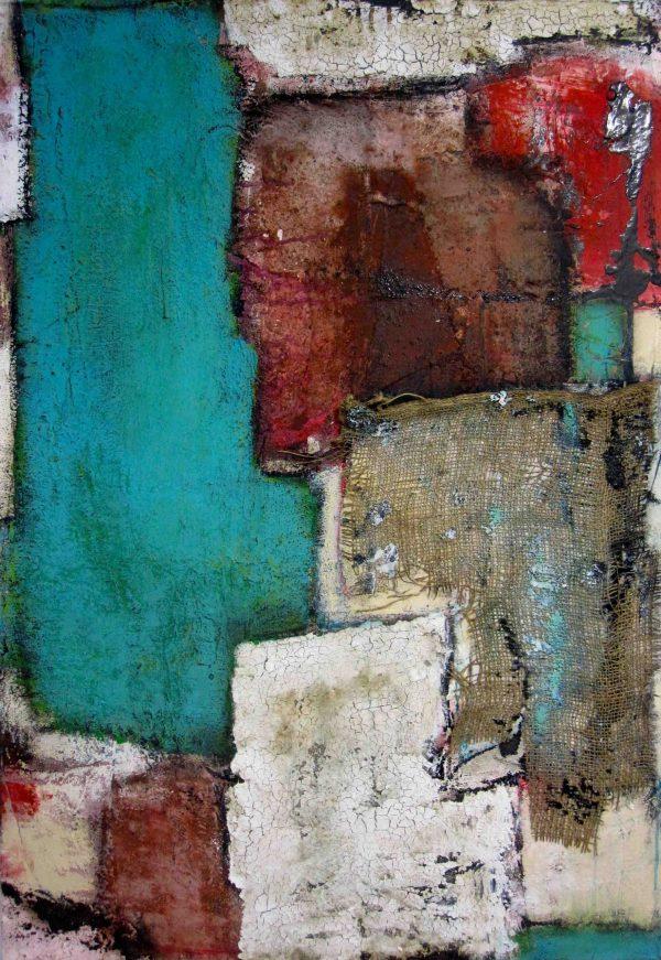 Abstrakt, Mixed Media, Acrylbild, Strukturbild, Materialbild, Blau