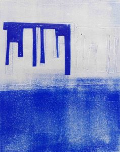 Abstrakt, Monotypie, Druckgrafik, Unikat, Griechenland, Blau
