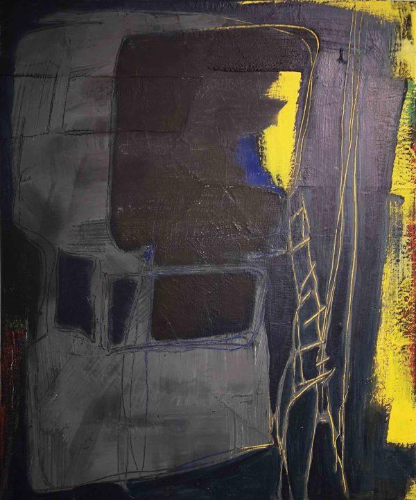 Abstrakt, Acrylbild, Architektur, Haus, Nacht, Schwarz
