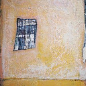 Abstrakt, Collage, Acrylbild, Strukturbild, Raum, Gelb