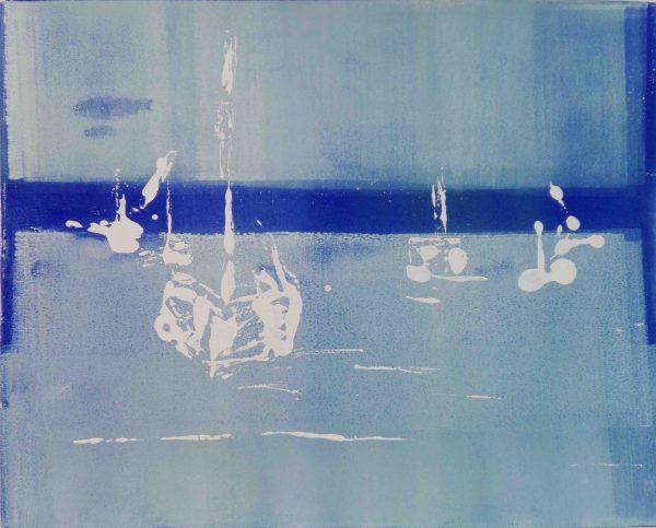 Abstrakt, Monotypie, Druckgrafik, Unikat, Wasser, Boote, Blau