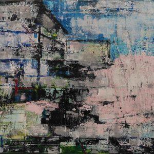 Abstrakt, Acrylbild, Spachteltechnik, Architektur, Landschaft