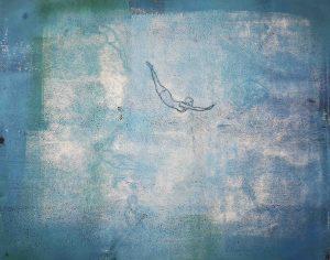 Kunst, Abstrakt, Monotypie, Druckgrafik, Unikat, Papier, Fliegen