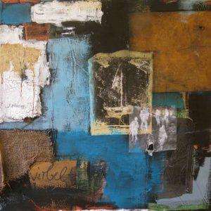 Abstrakt, Mixed Media, Collage, Acrylbild, Strukturbild, Boot, Blau