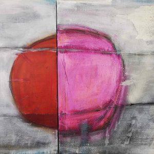 Abstrakt, Collage, Acrylbild, Pink, Rot