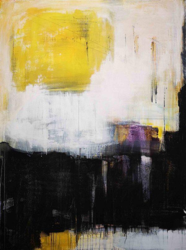 Kunst, Abstrakt, Acrylmalerei, Musik, Schwarz, Weiß, Gelb