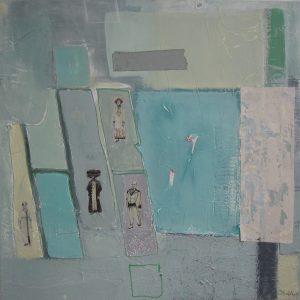 Abstrakte Malerei, Strukturbild, Collage, Blau, Leinwand