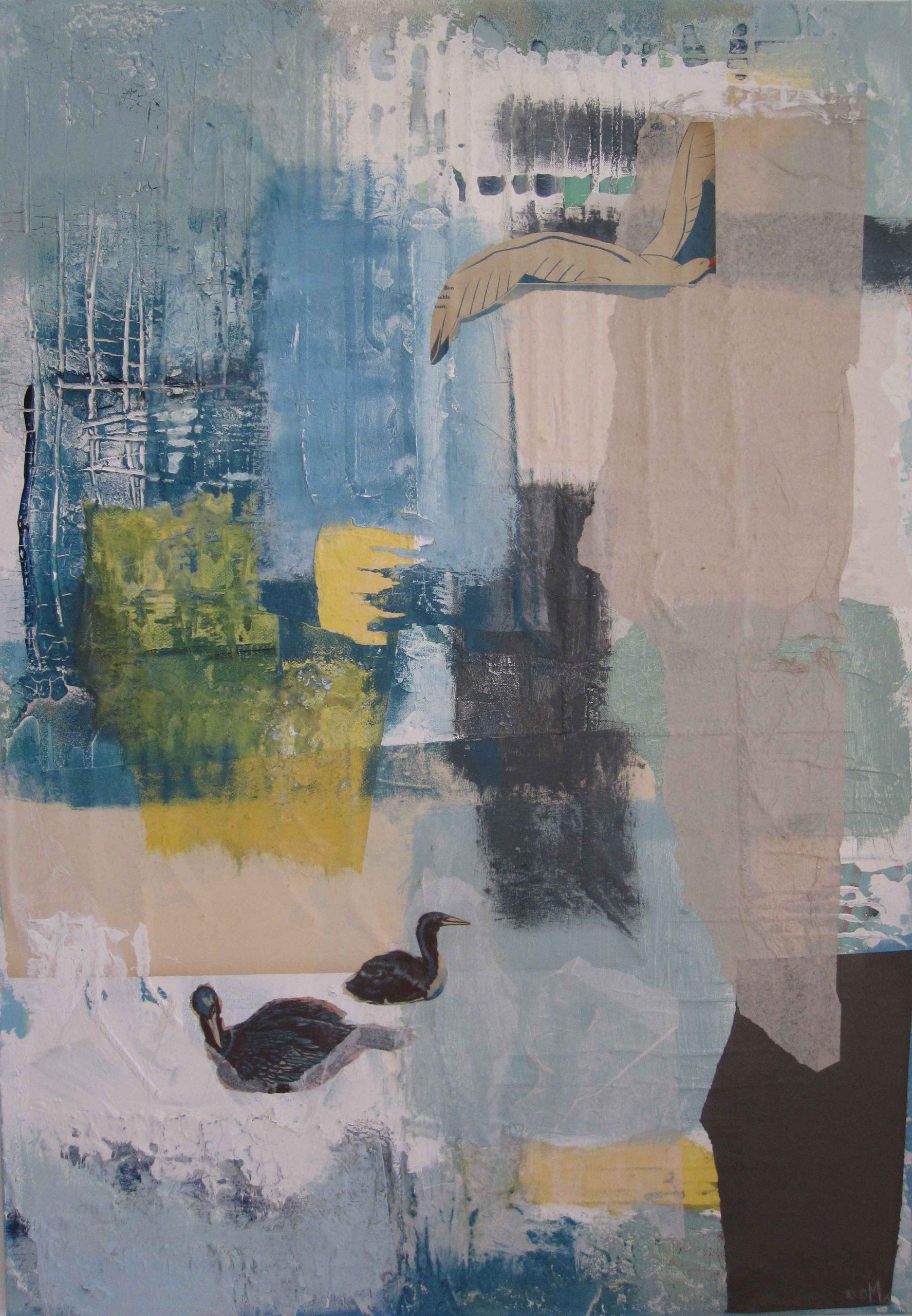 Abstrakte Malerei, Mischtechnik, Struktur, Collage, Blau