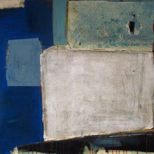 Abstrakt, Mixed Media, Collage, Komposition, Blau