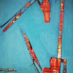Acrylbild, Abstrakt, Himmel, Blau, Kran, Baustelle