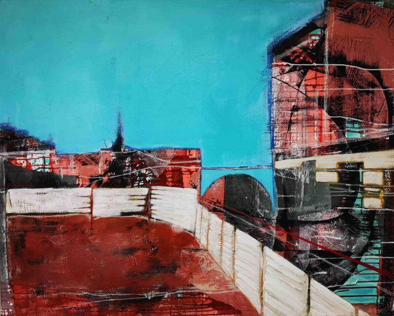 Acrylbild, Collage, Abstrakt, Urband, Architektur, Köln, Ehrenfeld, Gentrifizierung