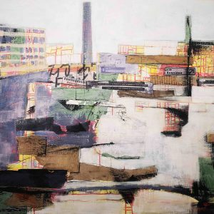 Acrylbild, Collage, Leinwand, Urban, Stadt, Wandel, Ehrenfeld, Köln, Gentrifizierung