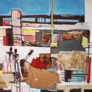 Acrylbild, Abstrakt, Collage, Urban, Stadt, Wandel, Veränderung