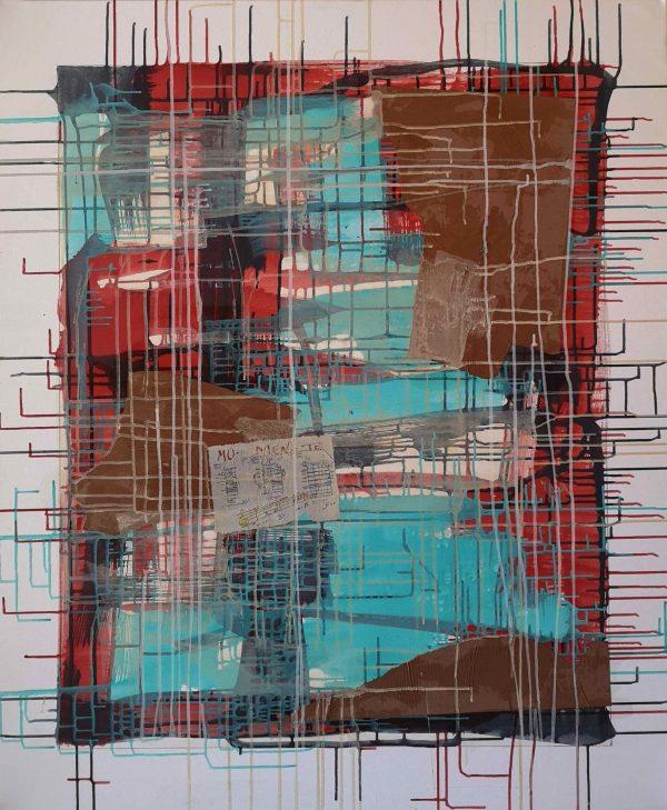 Abstrakt, Collage, Acrylbild