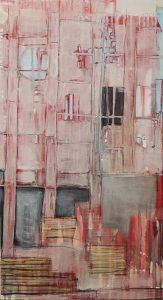 Abstrakt, Acrylbild, Gebäude, Haus, Gerüst, Baustelle, Fassade