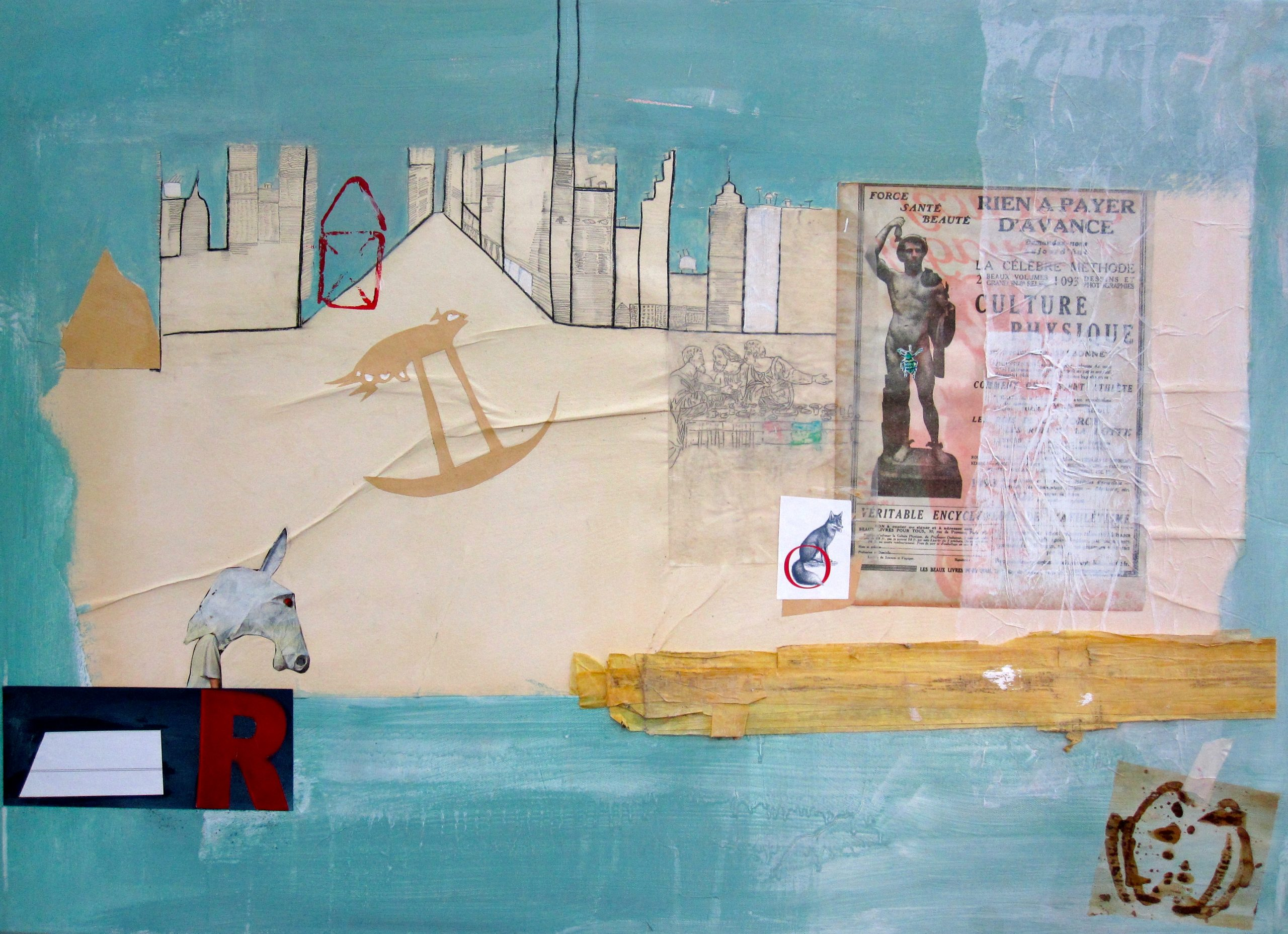 Abstrakt, Collage, Acryl auf Leinwand, Blau