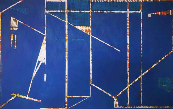 Acrylbild, Komposiotion, Struktur, Gerüst, Blau