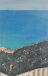 Abstrakt, Mixed Media, Collage, Strukturbild, Acrylbild, Himmel, Wasser, Blau