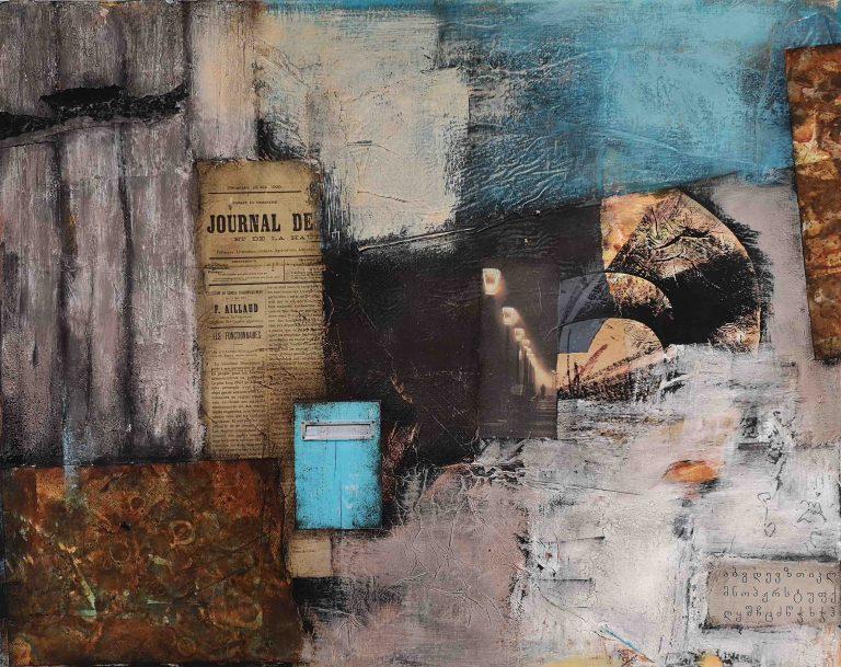 Mixed Media, Collage, Acrylbild, Strukturbild, Frankreich, Nachricht, Botschaft, Brief, Abstrakt