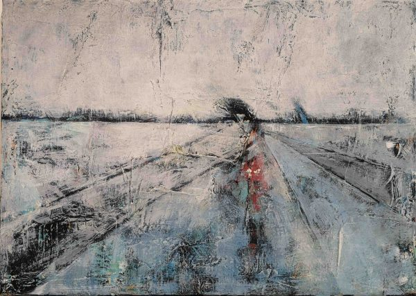 Abstrakt, Acrylbild, Strukturbild, Landschaft, Winter, Weg, Weiß