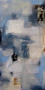 Abstrakt, Collage, Acrylbild, Kind, Blau