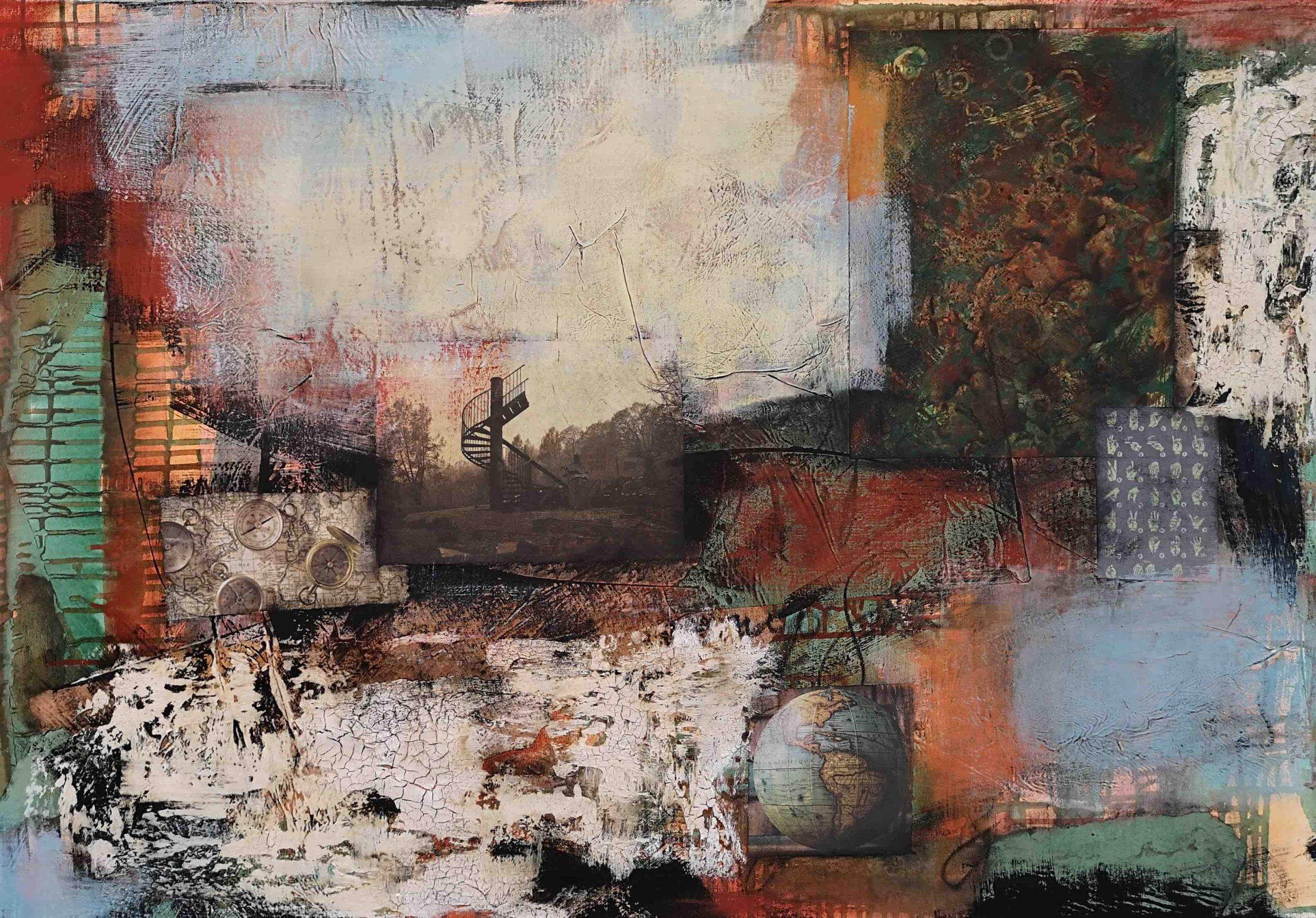 Collage, Mischtechnik, Abstrakt, Acrylbild, Strukturbild, Komposition